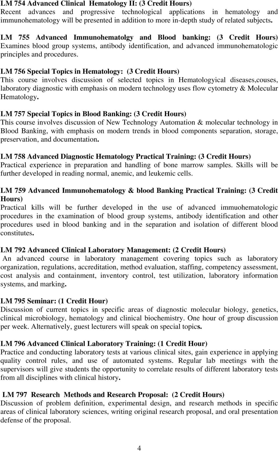 Course Curriculum for Master Degree in Medical Laboratory