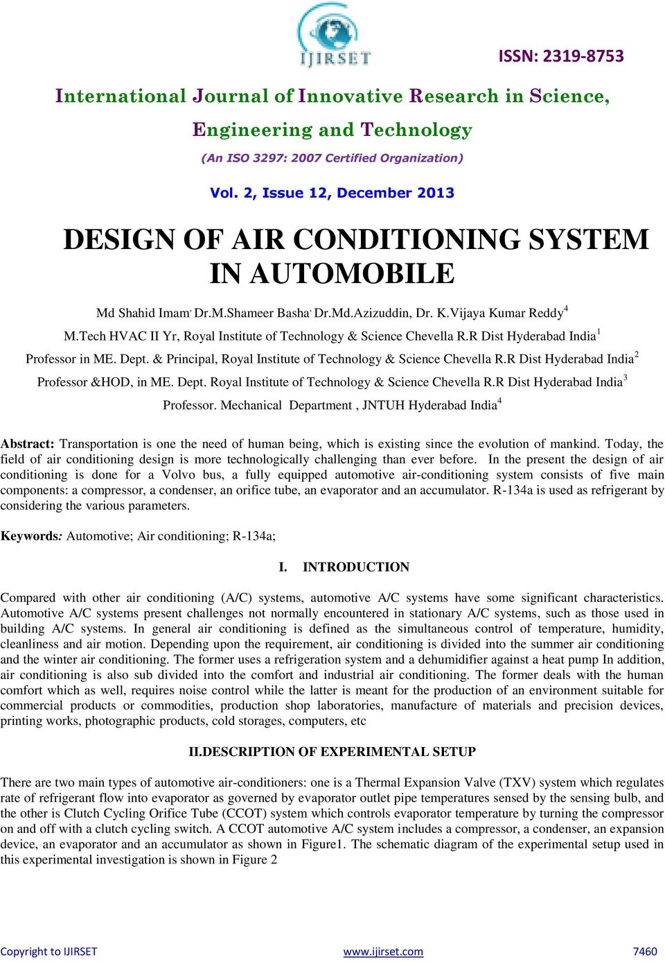 DESIGN OF AIR CONDITIONING SYSTEM IN AUTOMOBILE - PDF