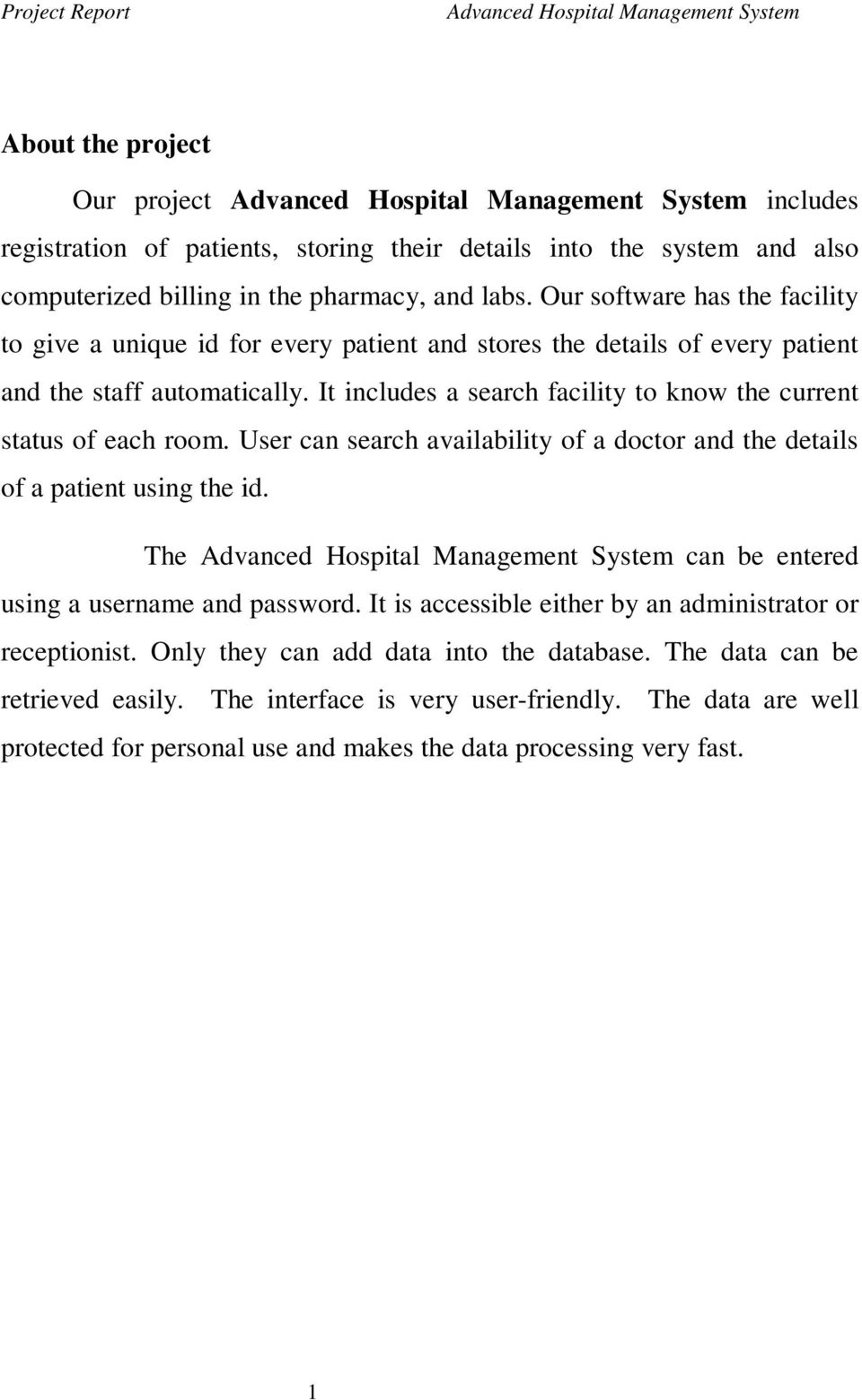 Advanced Hospital Management System  About the project - PDF