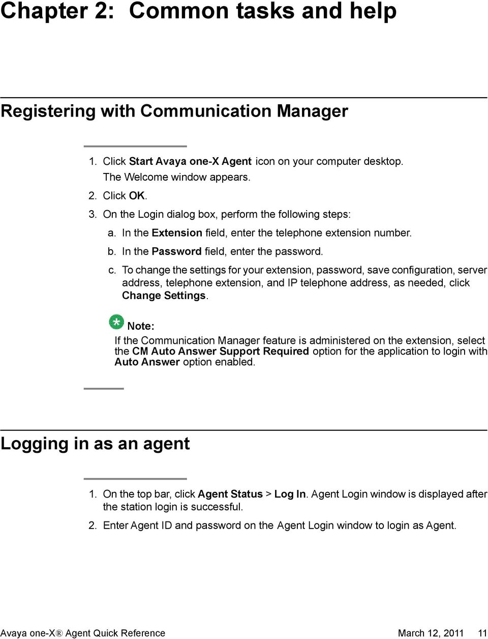 Avaya one-x Agent quick reference - PDF