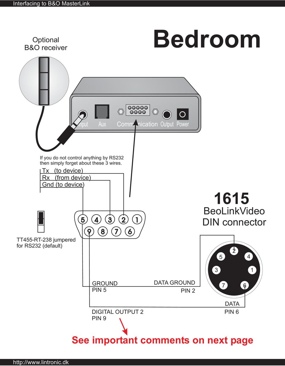 Interfacing To Bo Masterlink Pdf Connector Diagram Further 8 Pin Din Pinout On 9 Tx Device Rx From Gnd Tt455