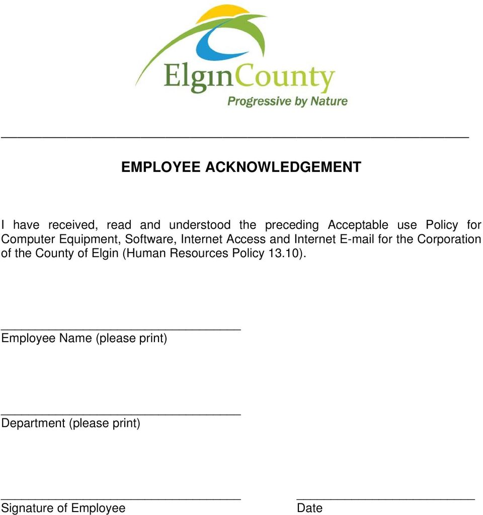 Corporation of the County of Elgin (Human Resources Policy 13.10).