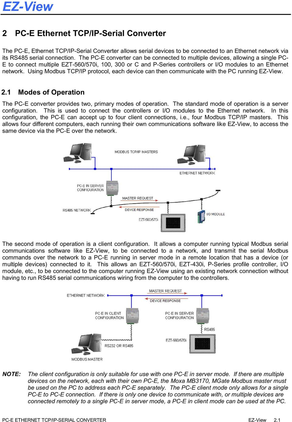 Using Modbus TCP/IP protocol, each device can then communicate with the PC running EZ-View. 2.1 Modes of Operation The PC-E converter provides two, primary modes of operation.