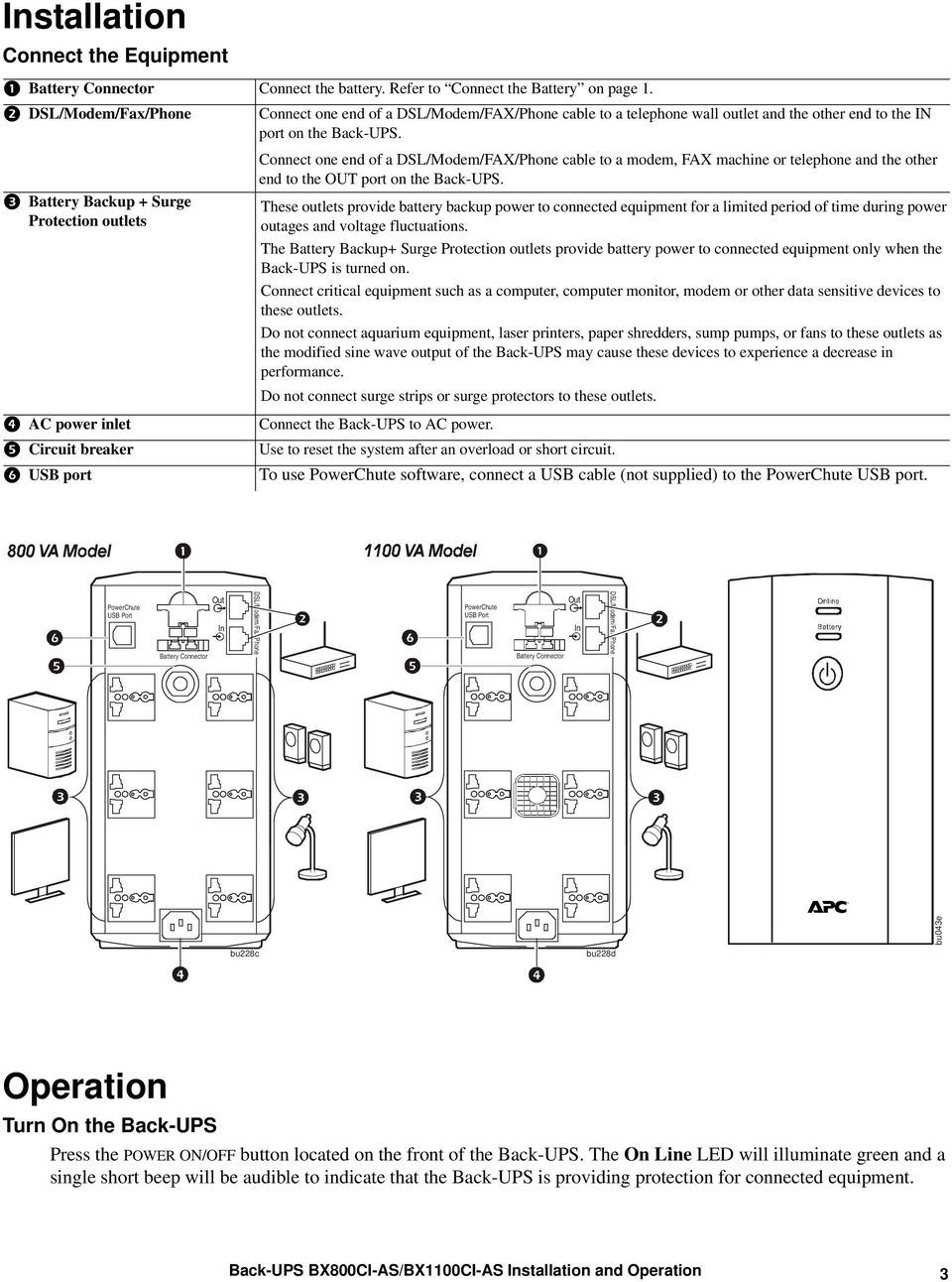 Installation And Operation Manual Back Ups Bx800ci As Bx1100ci Pdf Battery Backup Circuit Connect One End Of A Dsl Modem Fax Phone Cable To