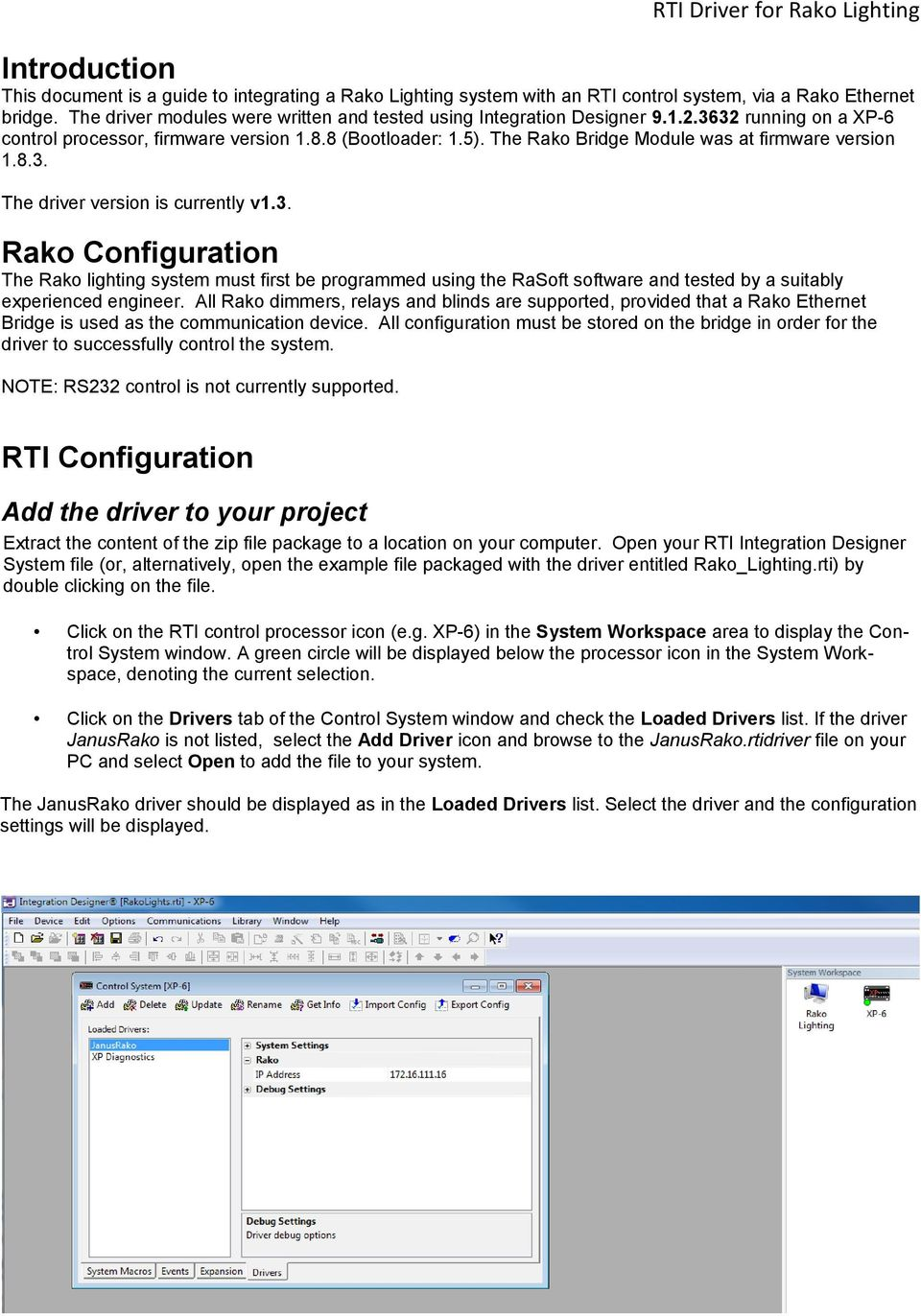 Rako Lighting Driver  For use with: Driver software written