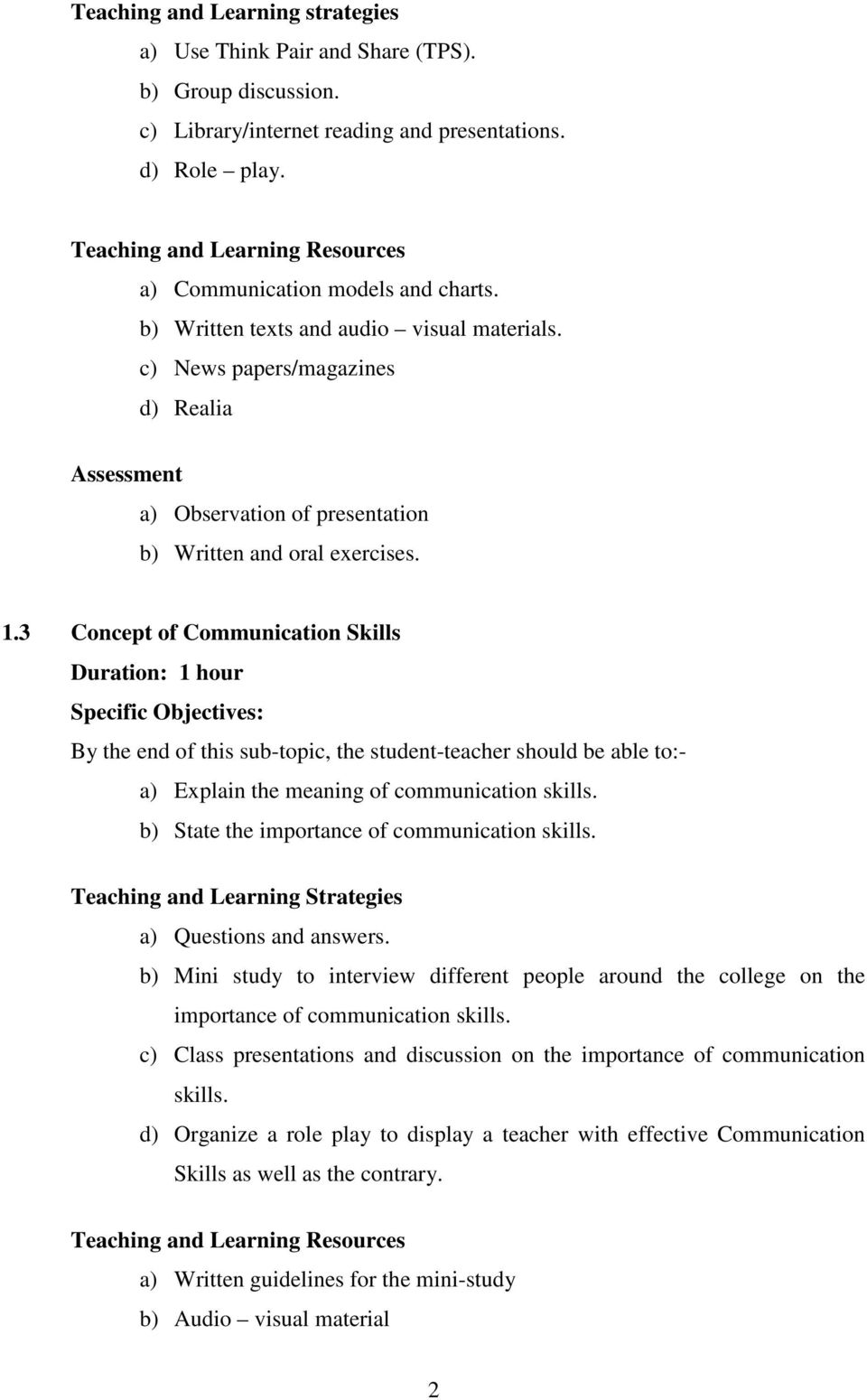 COMMUNICATION SKILLS SYLLABUS FOR THE CERTIFICATE COURSE IN