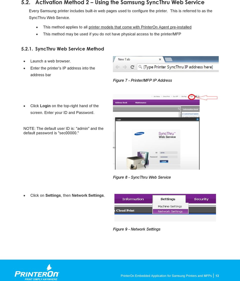 PrinterOn Embedded Application For Samsung Printers and MFPs - PDF