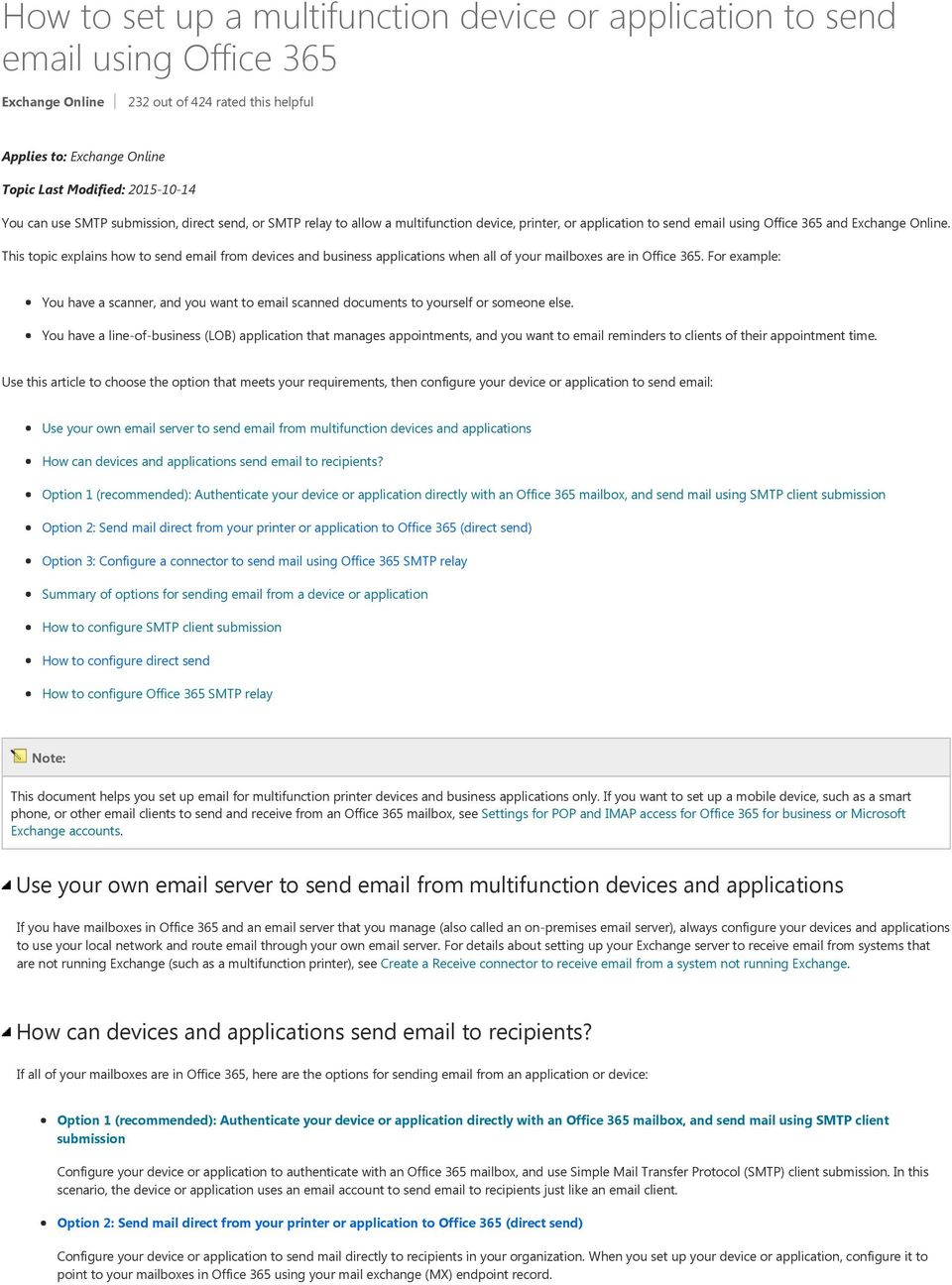 How to set up a multifunction device or application to send
