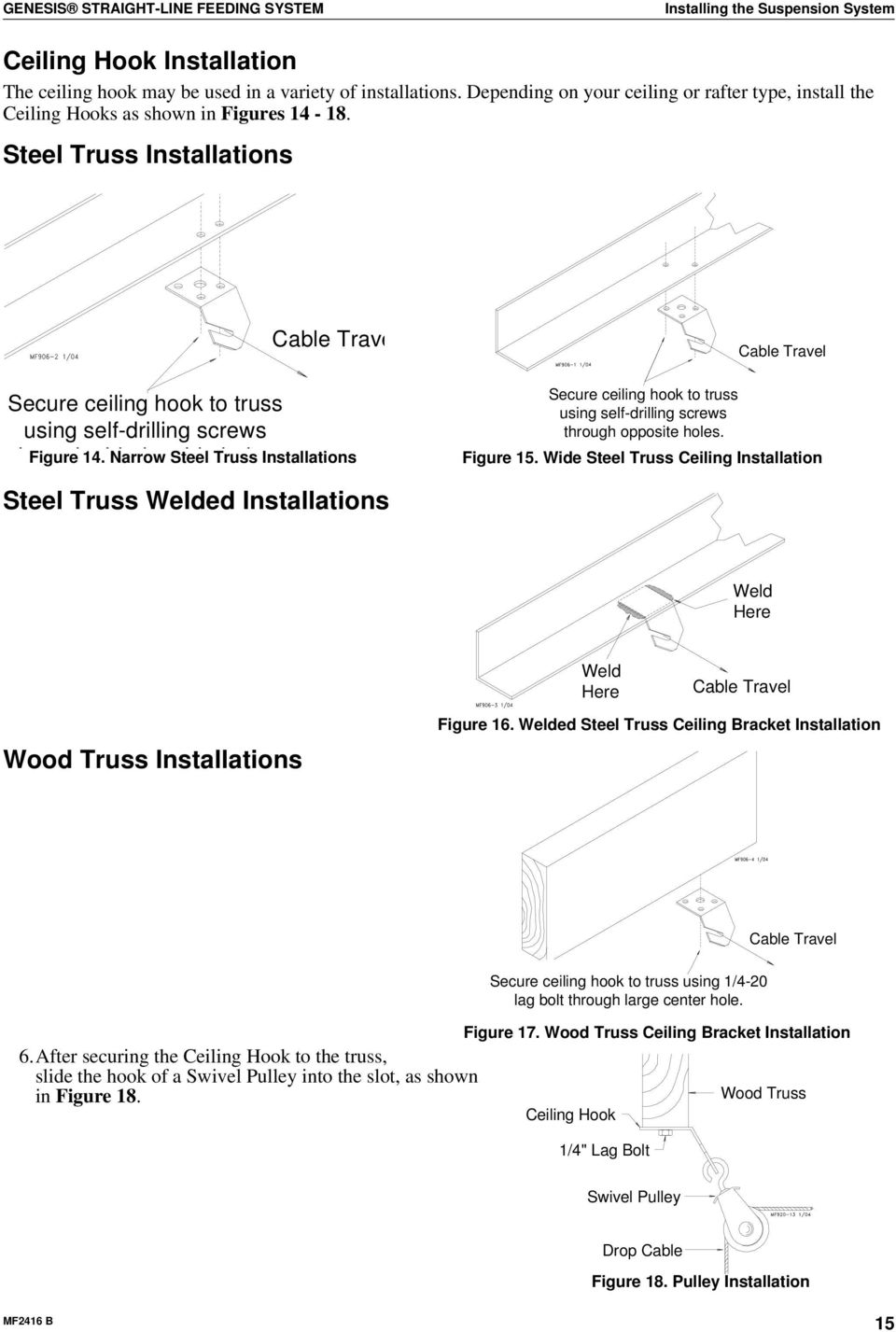 Genesis Straight Line Feeding System Installation And Operation House Wiring Diagram Steel Truss Installations Secure Ceiling Hook To Using Self Drilling Screws H Id B