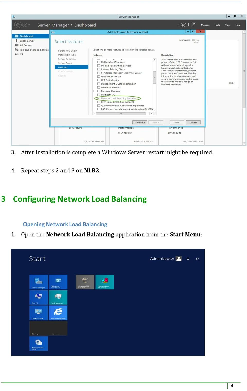 3 Configuring Network Load Balancing Opening Network Load