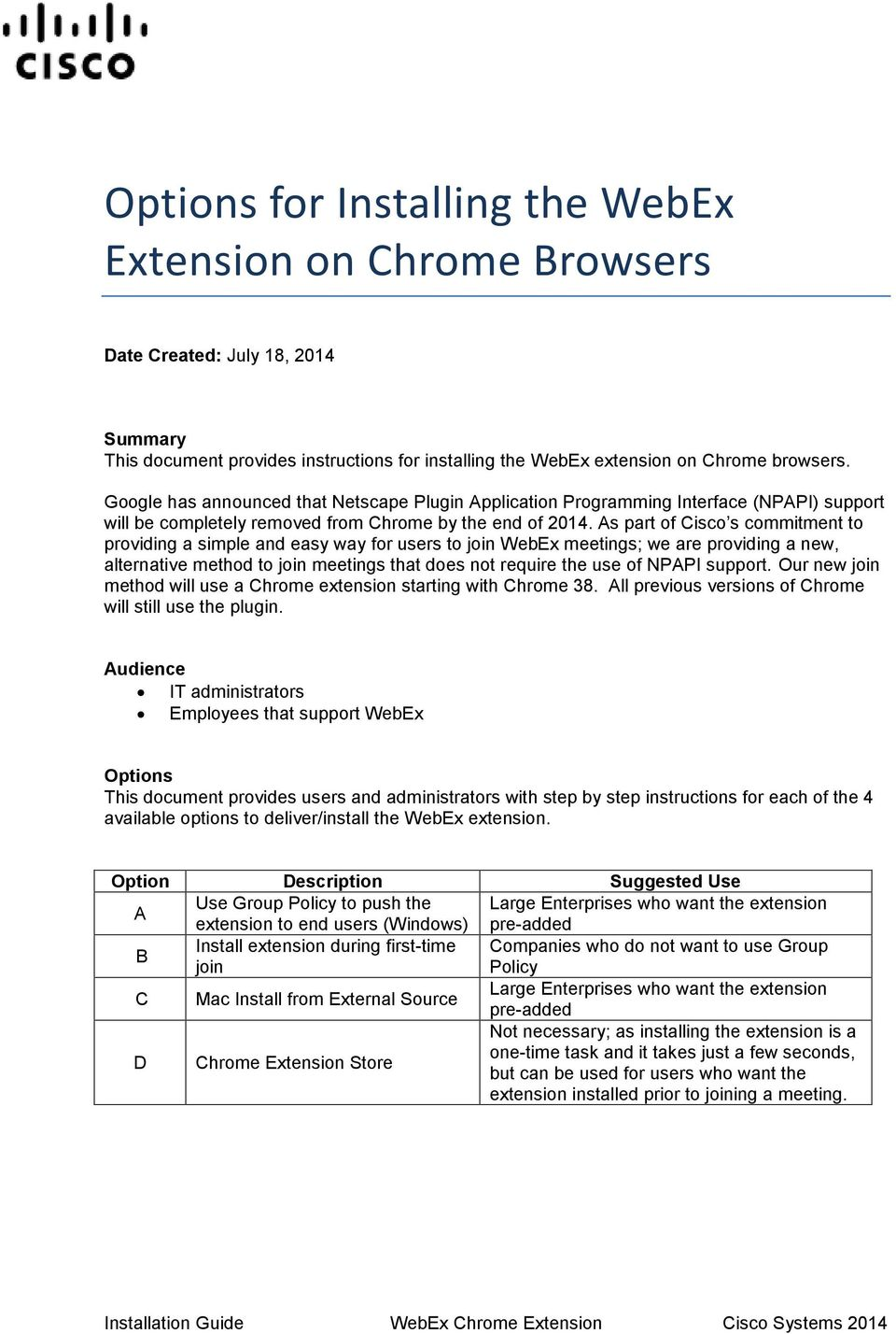 Options for Installing the WebEx Extension on Chrome