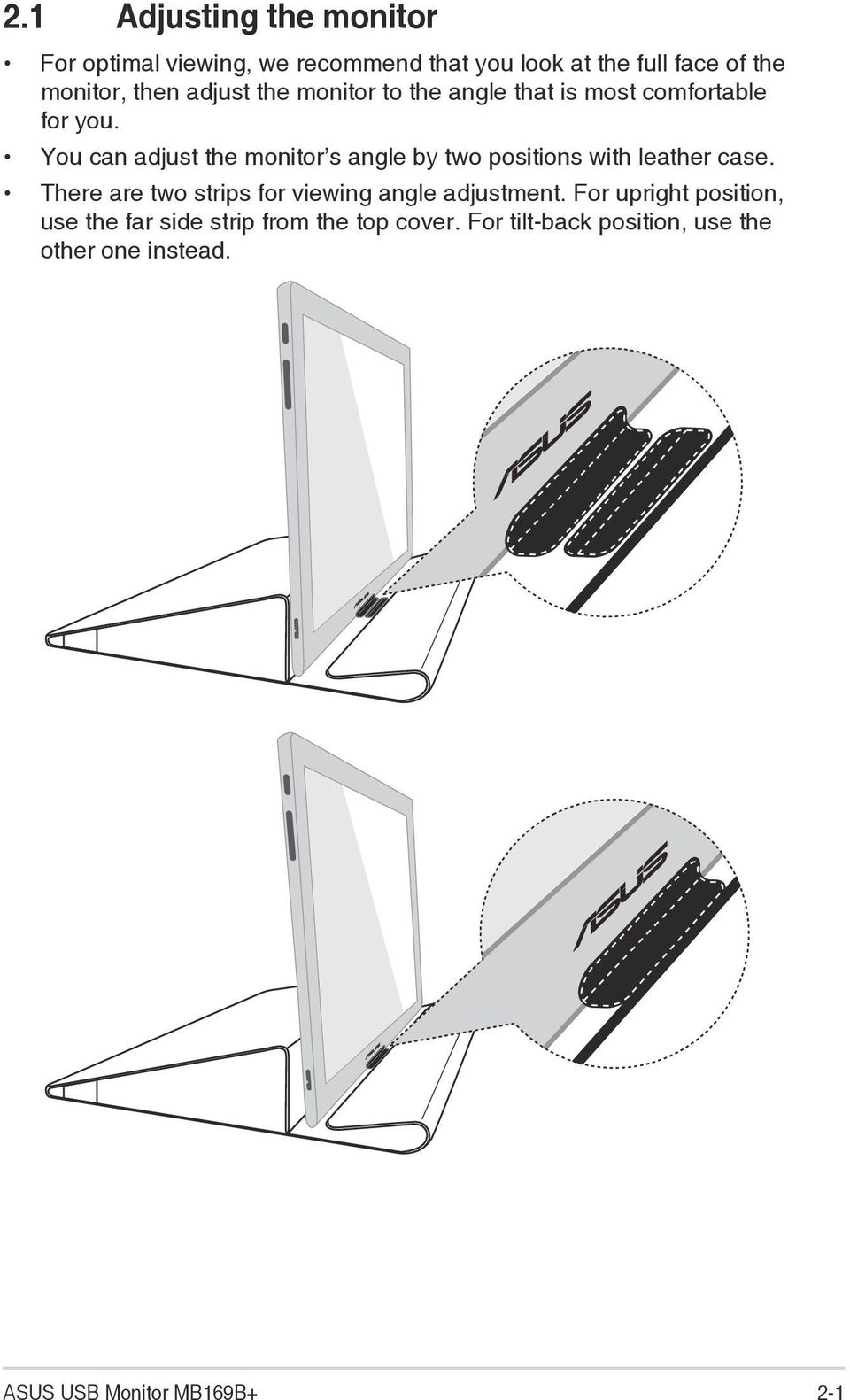 You can adjust the monitor s angle by two positions with leather case.