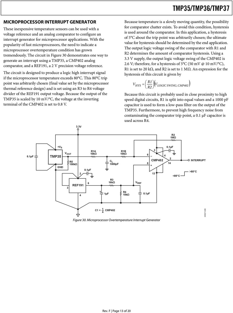Low Voltage Temperature Sensors Tmp35 Tmp36 Tmp37 Pdf Magnetic Field Sensor Ad22151 Magneticsensor Sensorcircuit The Circuit In Figure Demonstrates One Way To Generate An Interrupt Using A Tmp5