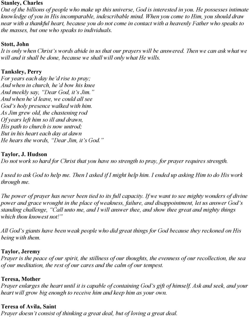 Quotes about Prayer  Click on Names below to see their
