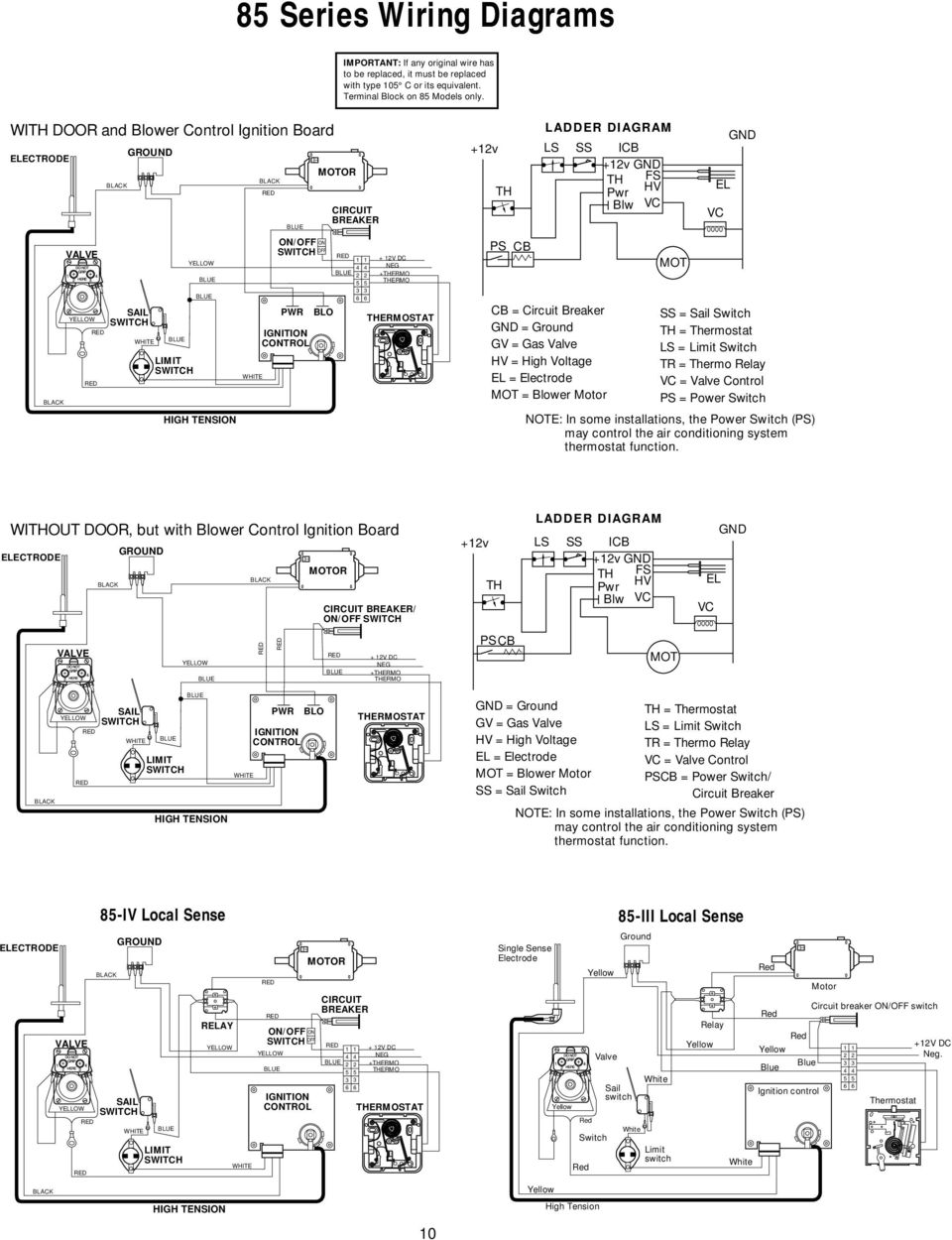Atwood Service Department Introduction Pdf Fenwal Ignition Module Wiring Diagram Hvac Limit Switch Blue White Pwr Control Blo 4 2 5 3 6 11 85 Series Diagrams