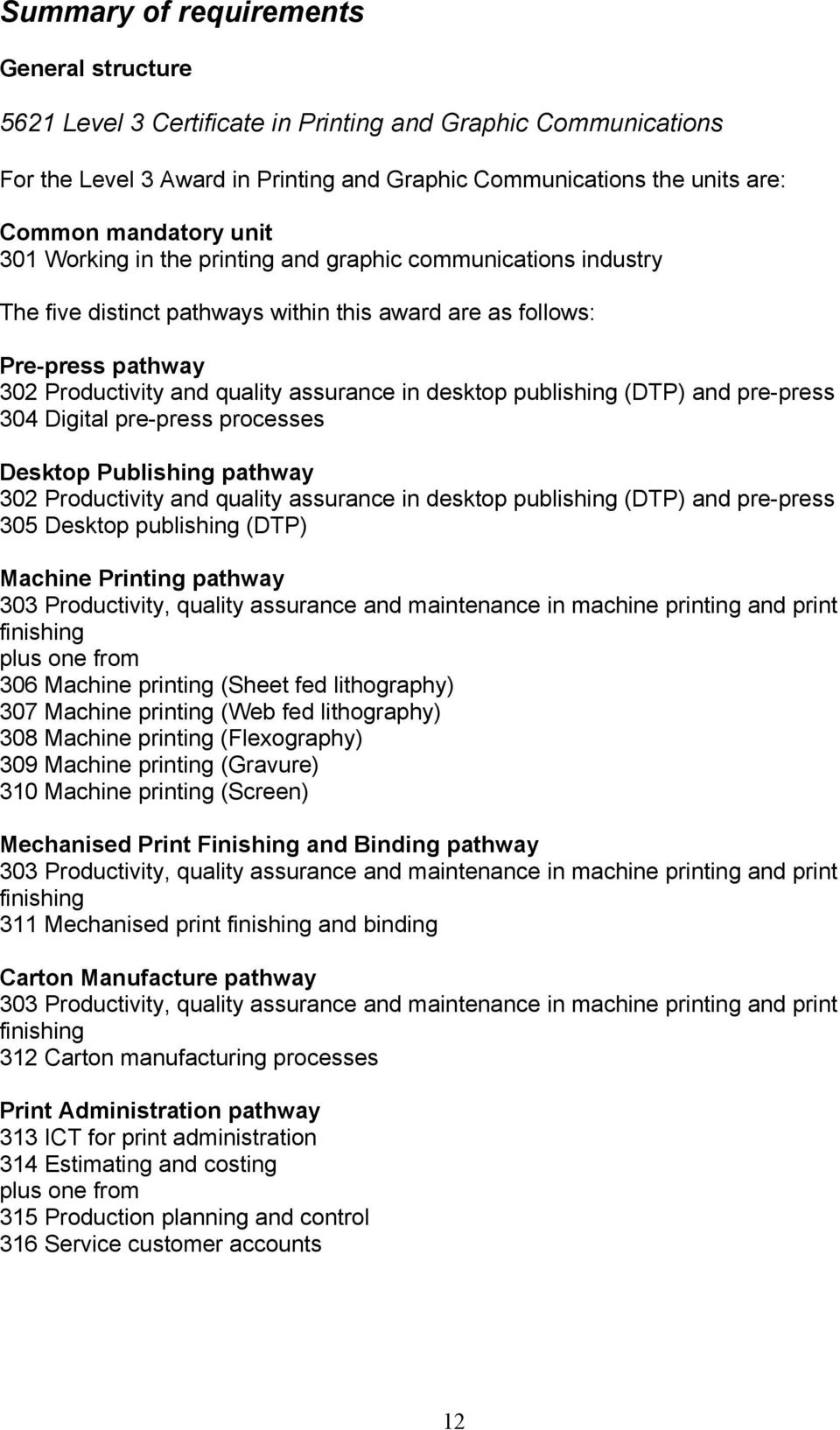 publishing (DTP) and pre-press 304 Digital pre-press processes Desktop Publishing pathway 302 Productivity and quality assurance in desktop publishing (DTP) and pre-press 305 Desktop publishing (DTP)