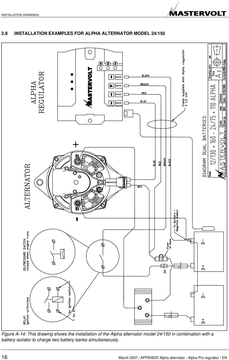 drawing shows the installation of the Alpha alternator model 24/150 in