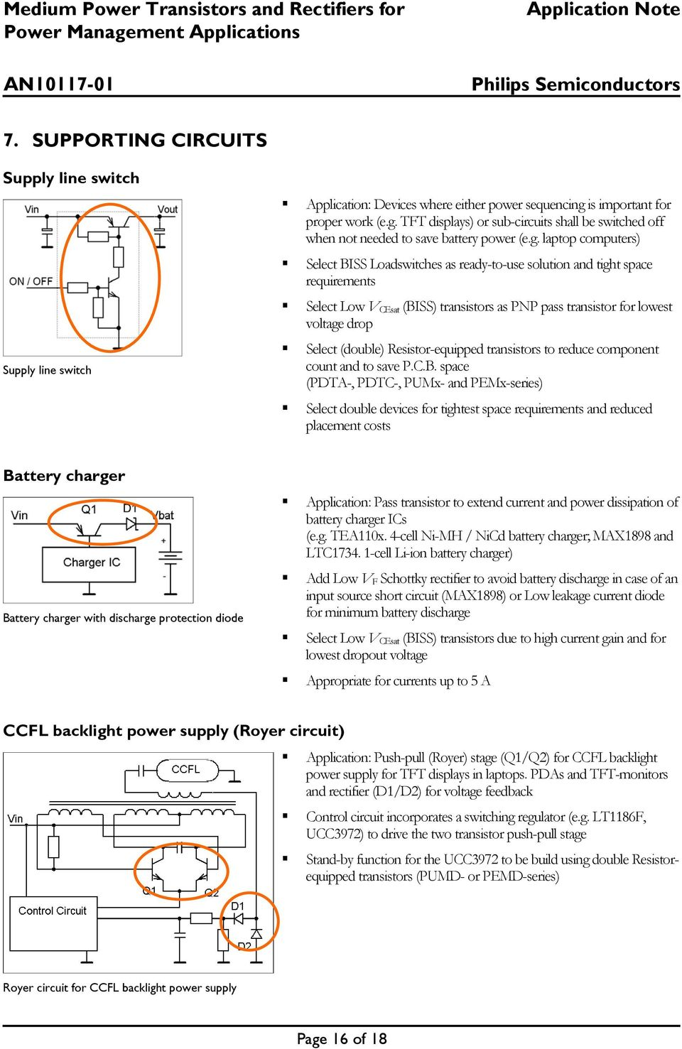 Application Note Medium Power Transistors And Rectifiers For Batterycharging Discharging Circuit Used In Laptop Applications Tft Displays Or Sub Circuits Shall Be Switched Off When Not Needed To Save