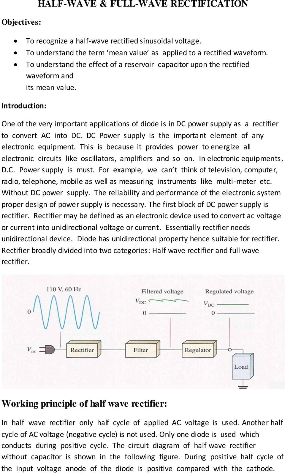 Half Wave Full Rectification Pdf Capacitor Filter Used In Rectifier Circuit As Shown The Introduction One Of Very Imortant Alications Diode Is Dc Ower Suly