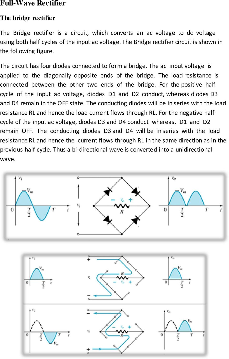 Half Wave Full Rectification Pdf Rectifier Connection Diagram The Load Resistance Is Connected Between Other Two Ends Of Bridge