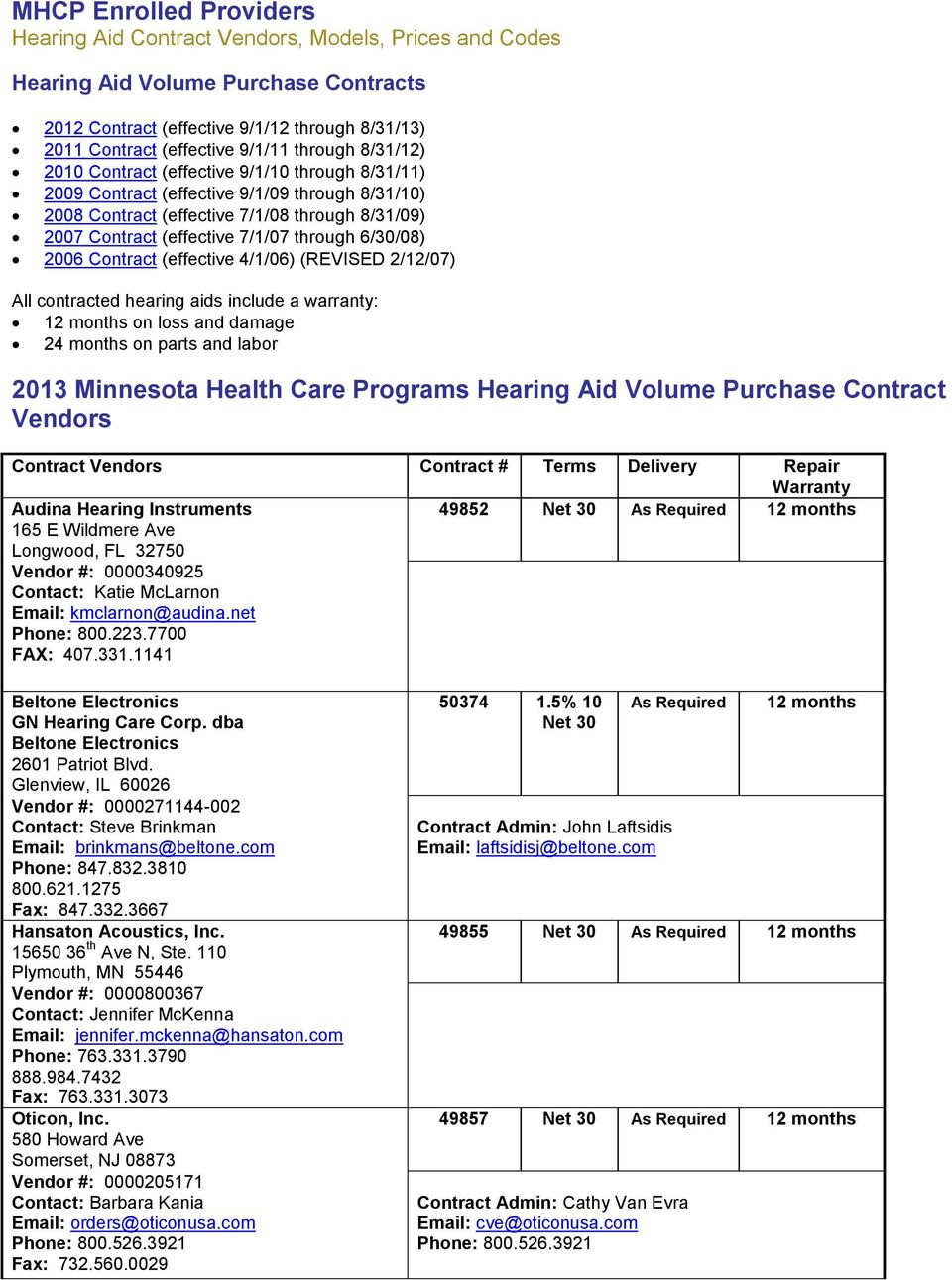 2013 Minnesota Health Care Programs Hearing Aid Volume Purchase
