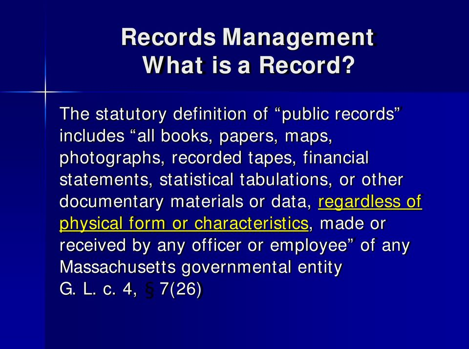 recorded tapes, financial statements, statistical tabulations, or other documentary materials