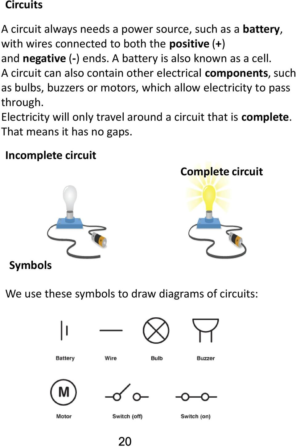 Electricity Unit Science And Technolgy Cycle 3 Name Group Teacher Wiring Diagram Quiz Together With Game Show Buzzer Circuit A Can Also Contain Other Electrical Components Such As Bulbs Buzzers Or Motors