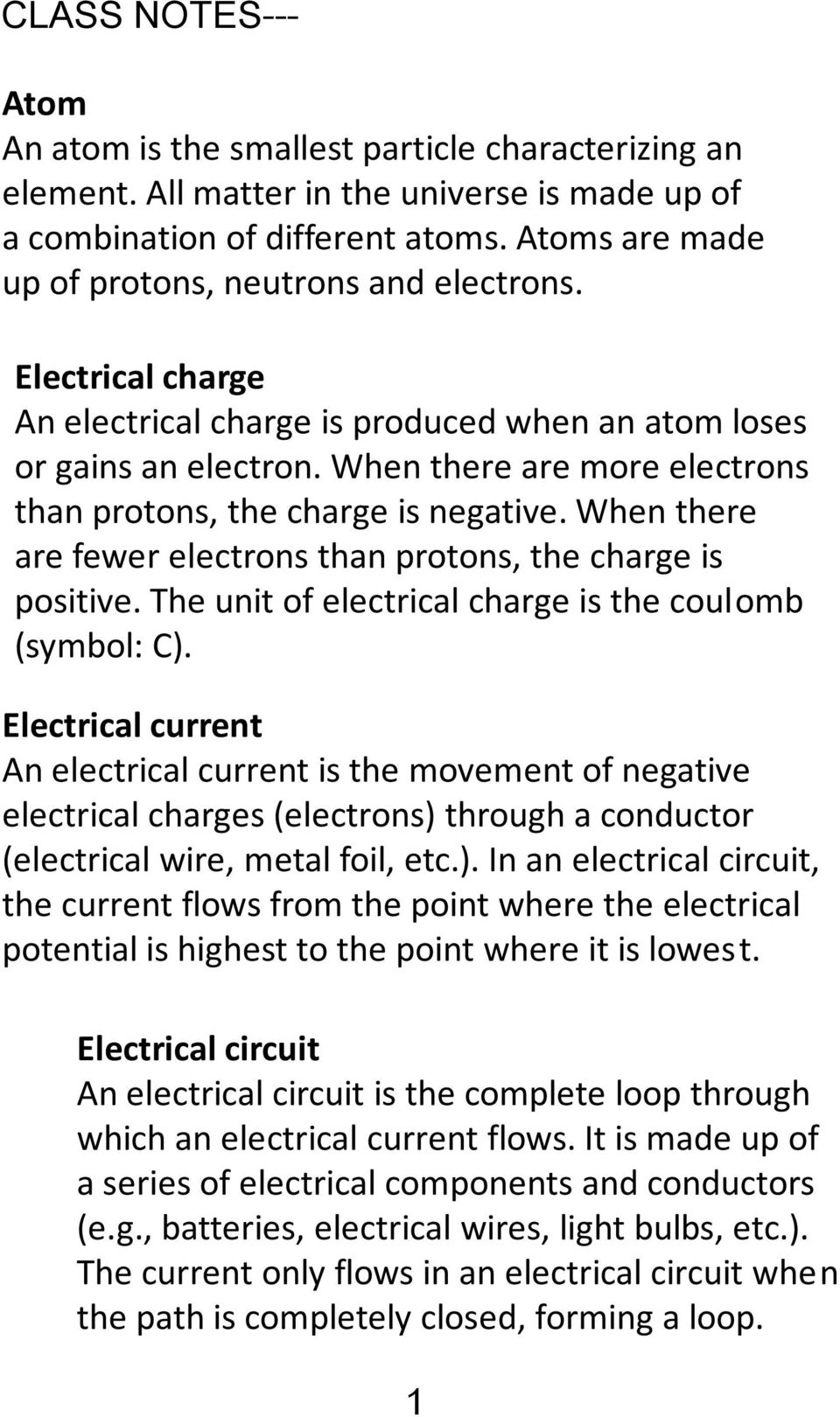 ELECTRICITY UNIT SCIENCE AND TECHNOLGY- CYCLE 3 NAME GROUP