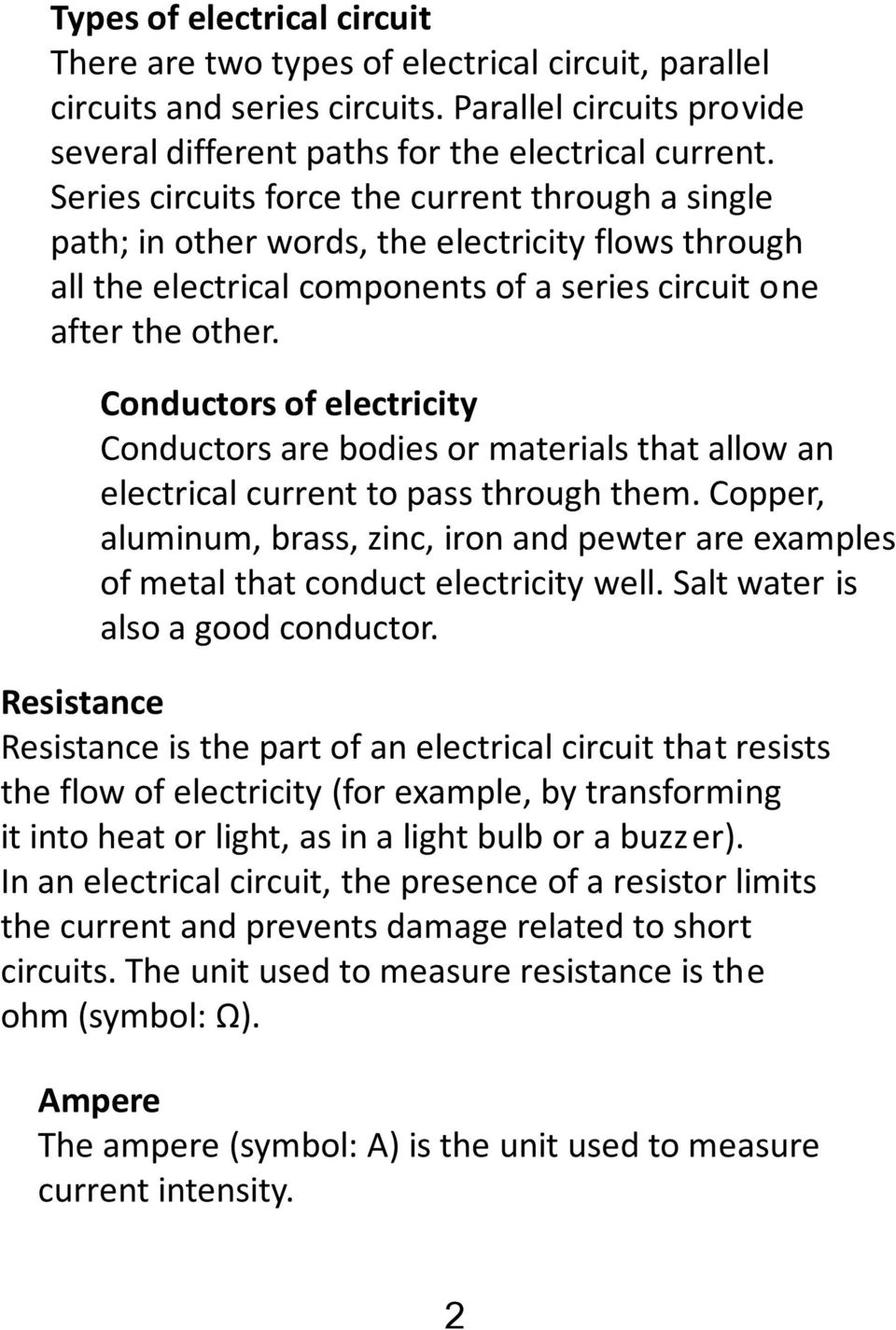 Electricity Unit Science And Technolgy Cycle 3 Name Group Teacher Parallel Circuit Resistance As Well Series Circuits Conductors Of Are Bodies Or Materials That Allow An Electrical Current To Pass Through