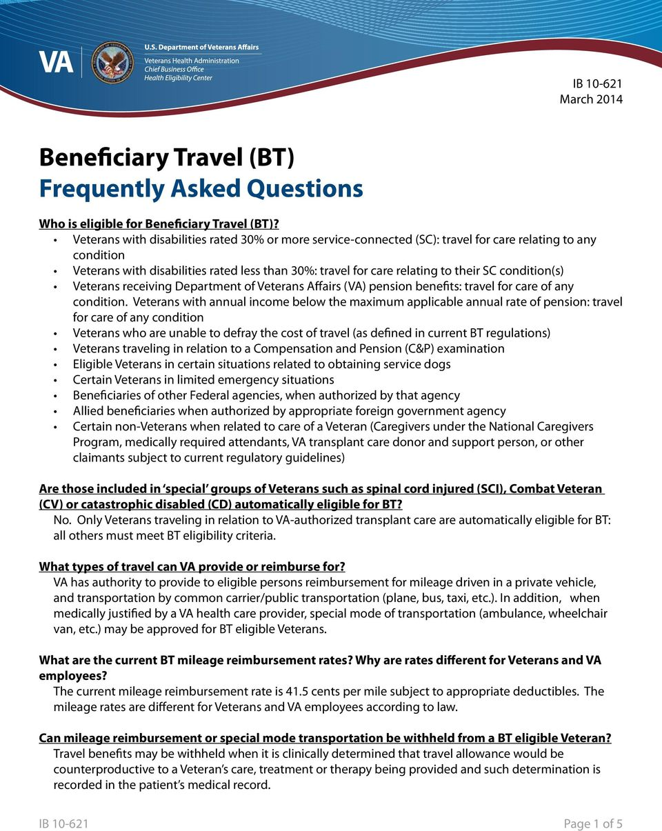 Beneficiary Travel (BT) Frequently Asked Questions - PDF