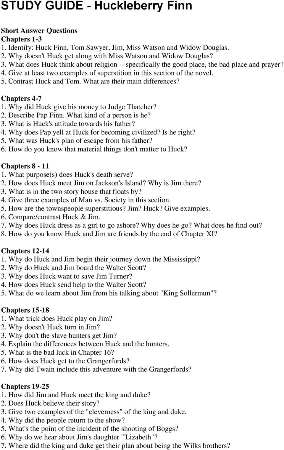 study guide huckleberry finn pdf rh docplayer net Huckleberry Finn Quotes huckleberry finn short answer study guide page 2