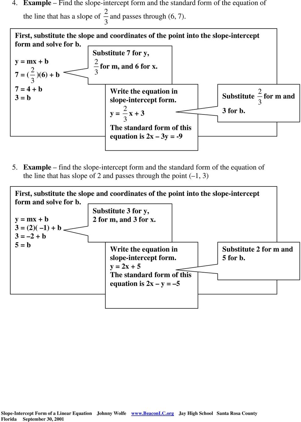 slope-intercept form of a linear equation examples - pdf
