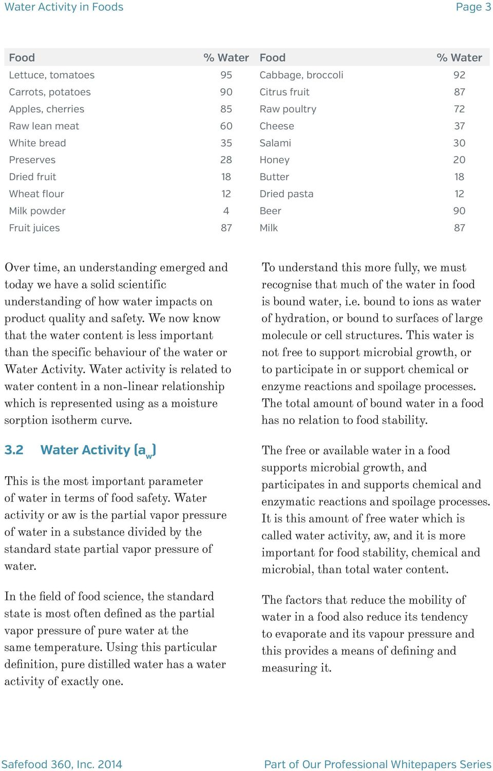 Water Activity A W In Foods Whitepaper Contents Summary Pdf Free Download