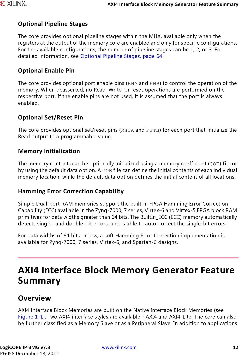 Logicore Ip Block Memory Generator V73 Pdf Virtex 6 Diagram For Detailed Information See Optional Pipeline Stages Page 64 Enable Pin The