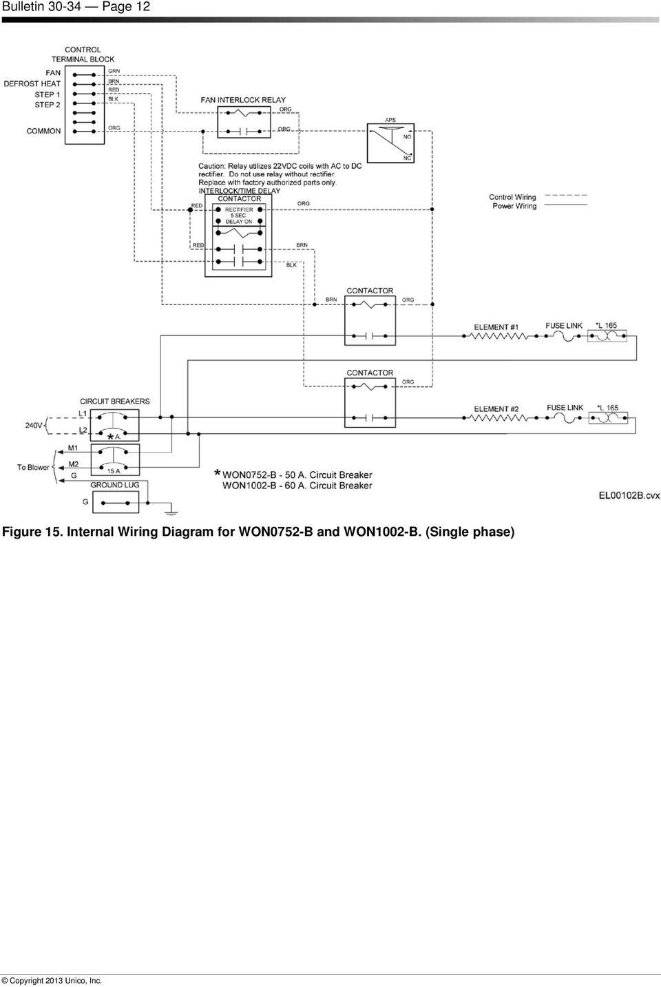 Won0502 B Installation Instructions For Electric Furnaces Bulletin Unico System Wiring Diagram Internal