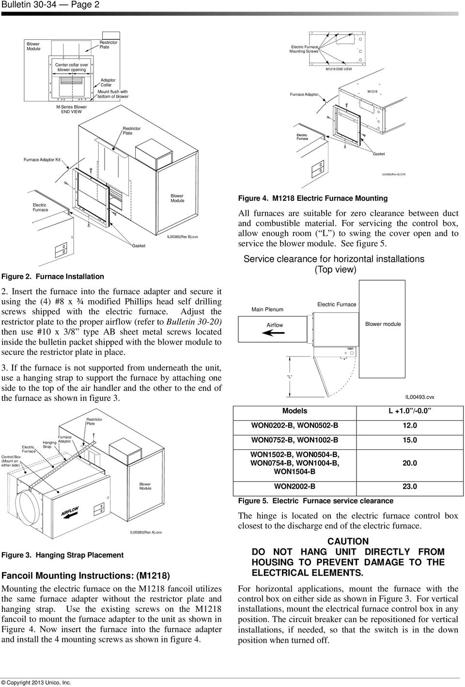 WON0502-B INSTALLATION INSTRUCTIONS FOR ELECTRIC FURNACES. Bulletin on