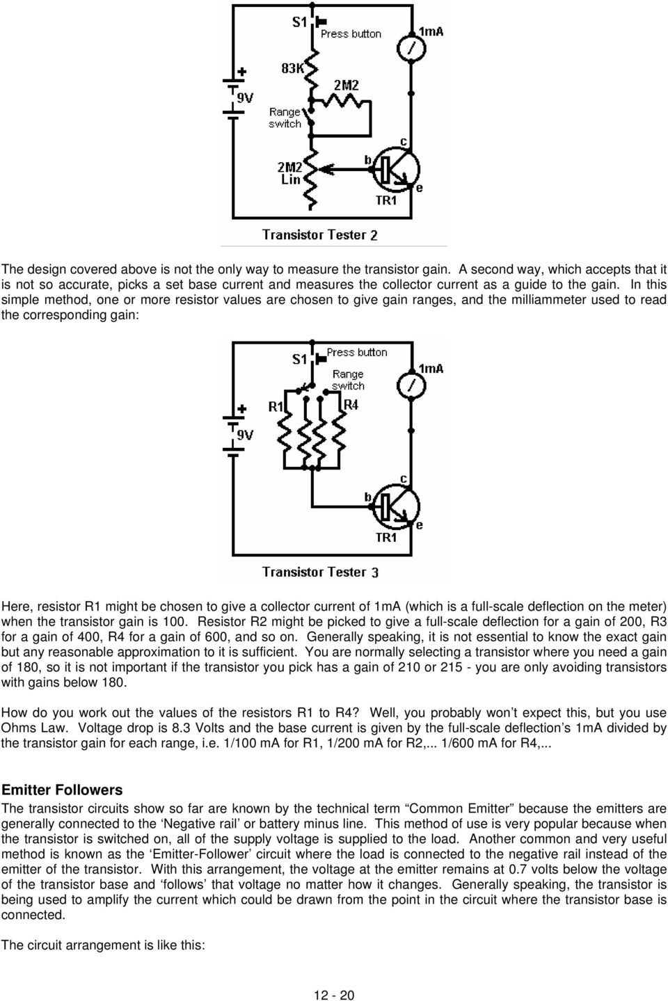 Chapter 12 Basic Electronics Pdf Parallel 250 Pnp Transistor Switch Series And Circuits In This Simple Method One Or More Resistor Values Are Chosen To Give Gain Ranges