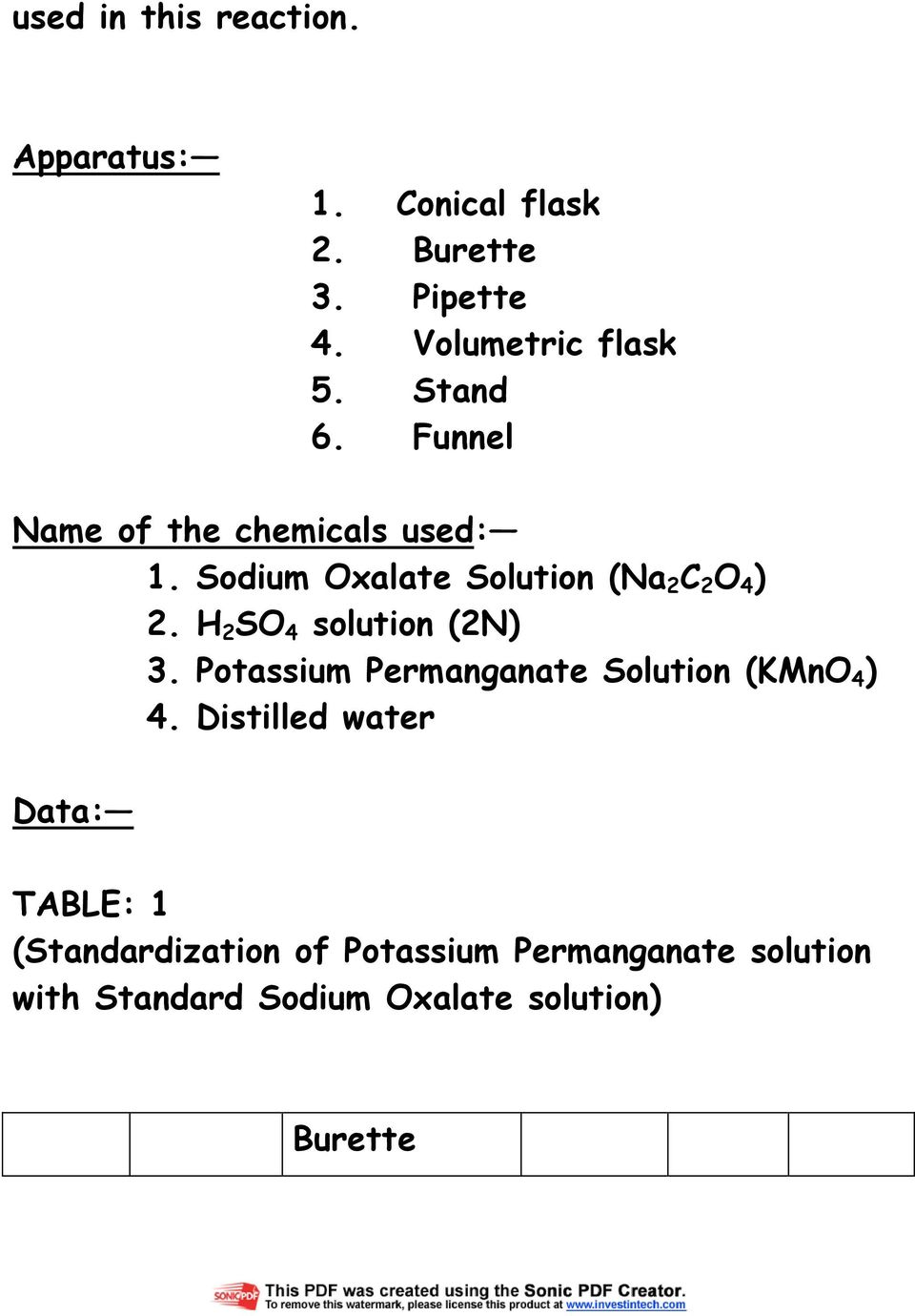 standardisation of potassium permanganate solution