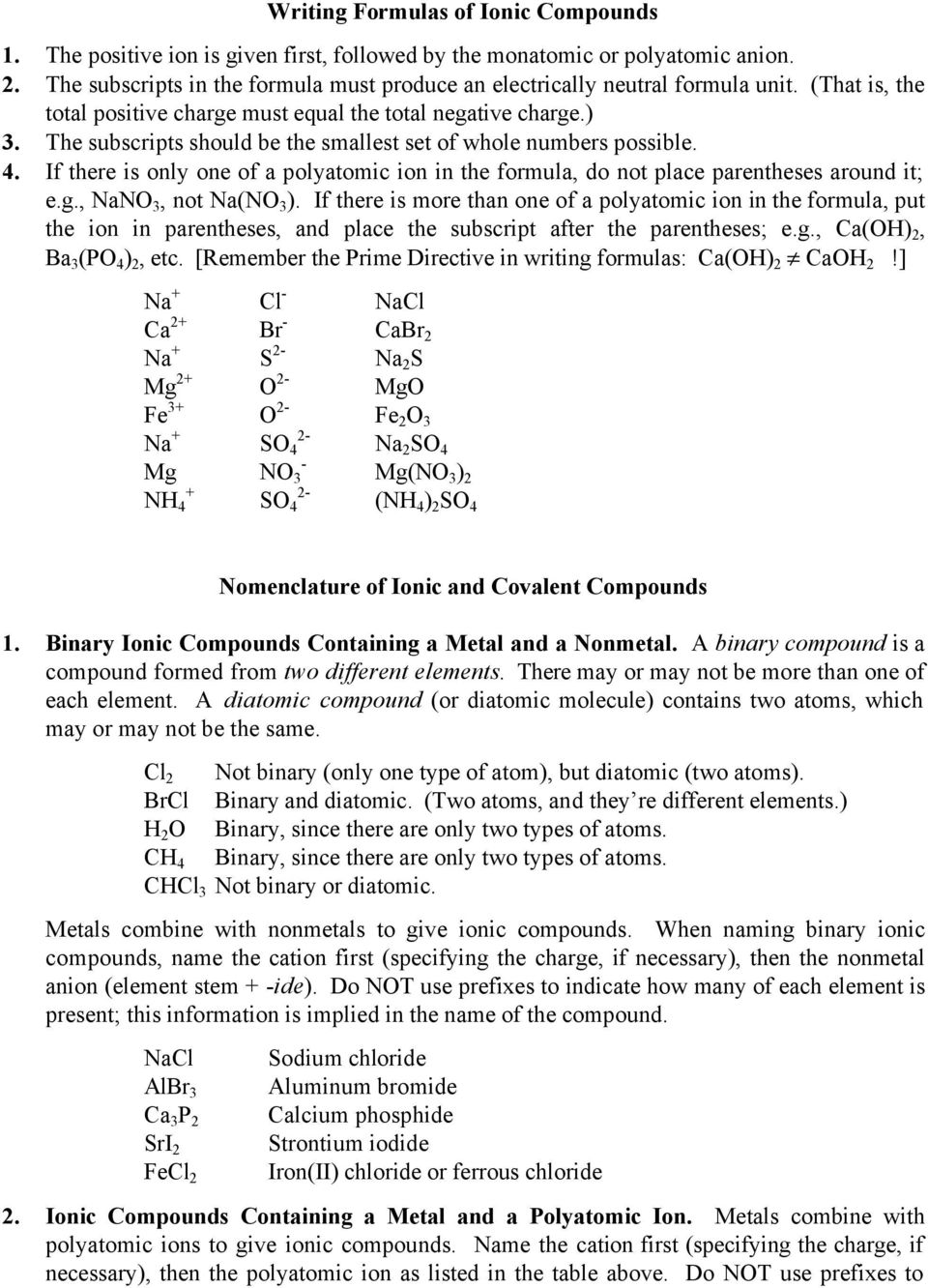 Formulas And Nomenclature Of Ionic And Covalent Compounds Adapted