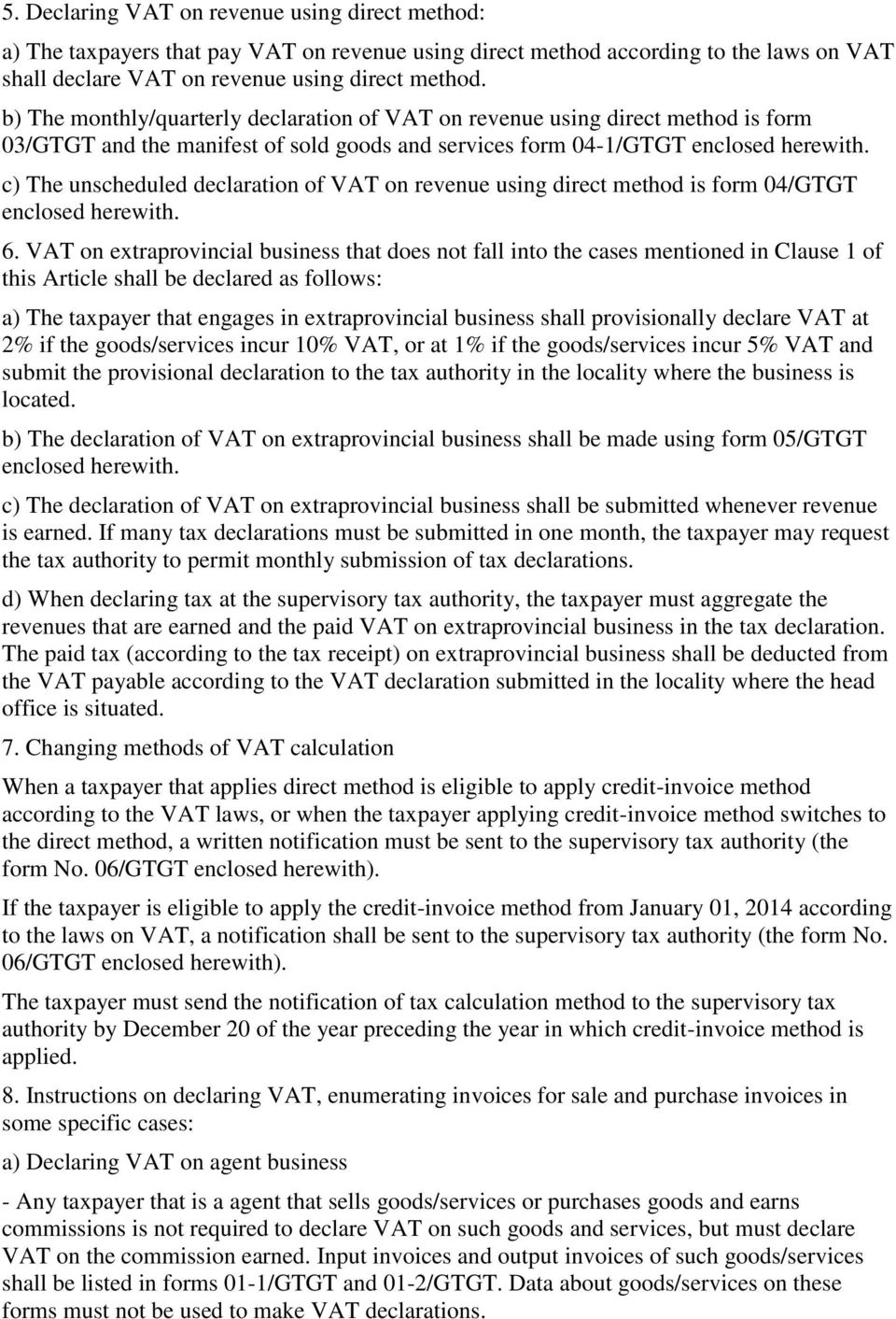Ministry Of Finance Socialist Republic Vietnam Independence Next To Basic Electricitygtgt C The Unscheduled Declaration Vat On Revenue Using Direct Method Is Form 04