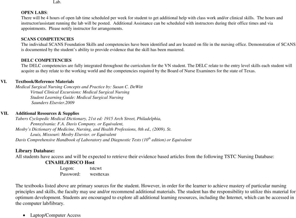 COURSE SYLLABUS Medical Surgical Nursing II VNSG Lecture