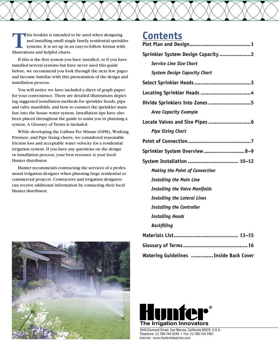 Residential Sprinkler System Design Handbook Pdf Valve Wiring Diagram Water Installation With This Presentation Of The And Process You Will Notice We Have Included