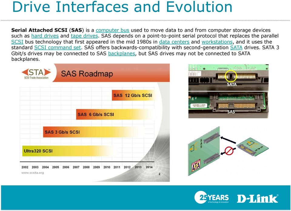SAS depends on a point-to-point serial protocol that replaces the parallel SCSI bus technology that first appeared in the mid 1980s in data