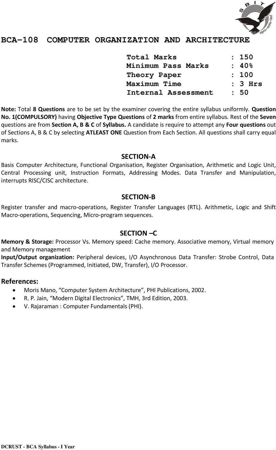 Bca Syllabus I Year Bachelor Of Computer Application Pdf Organization Systems Arithmetic Rest The Seven Questions Are From Section A B C