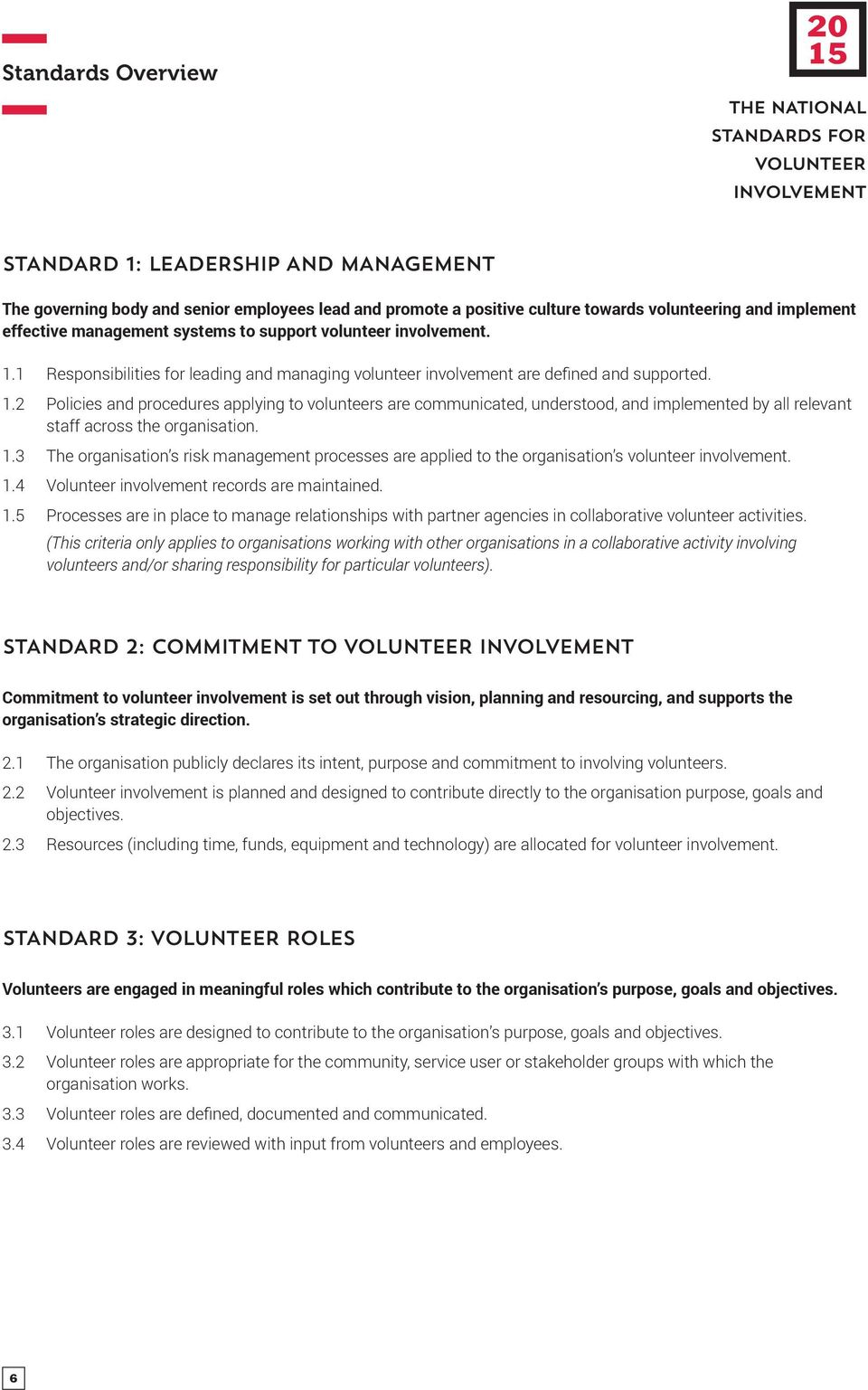 1.3 The organisation s risk management processes are applied to the organisation s volunteer involvement. 1.
