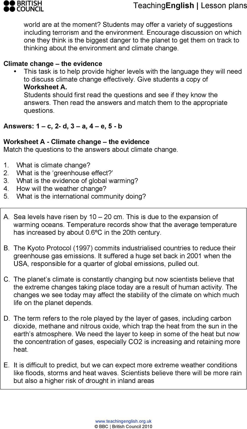 global warming questions and answers for students