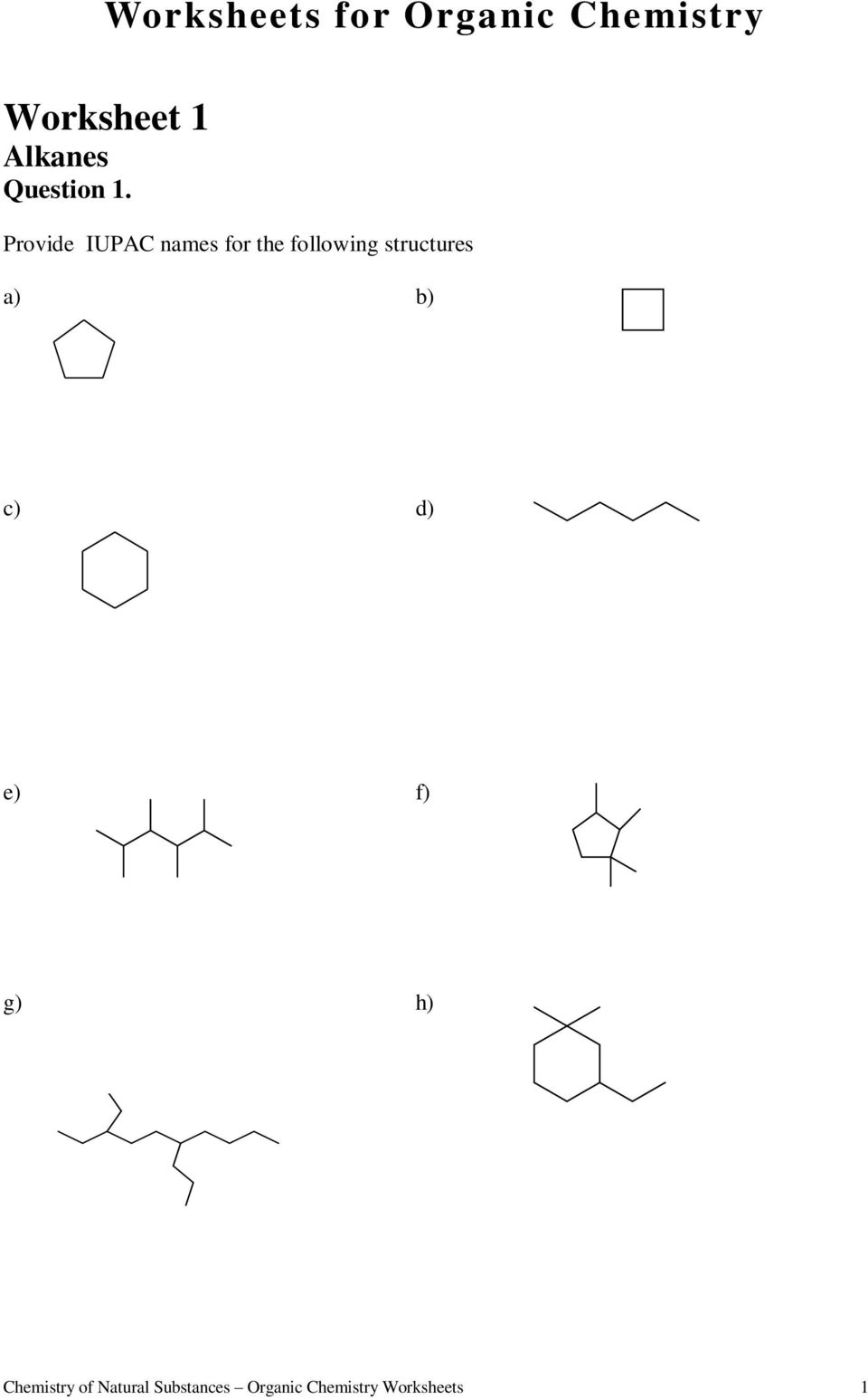 Worksheets for Organic Chemistry - PDF Free Download