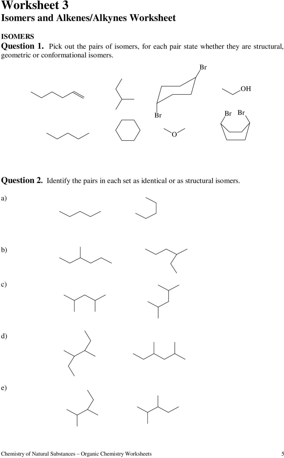 Worksheets For Organic Chemistry Pdf
