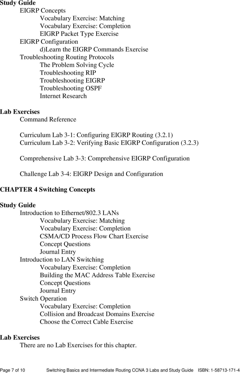 Switching Basics and Intermediate Routing CCNA 3 Labs and