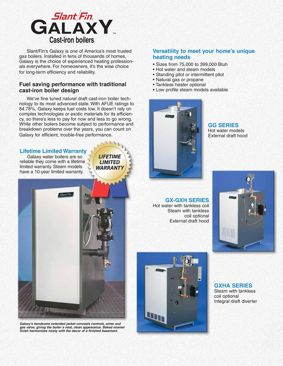 GALAXY. High performance gas boilers HOT WATER AND STEAM NATURAL AND ...